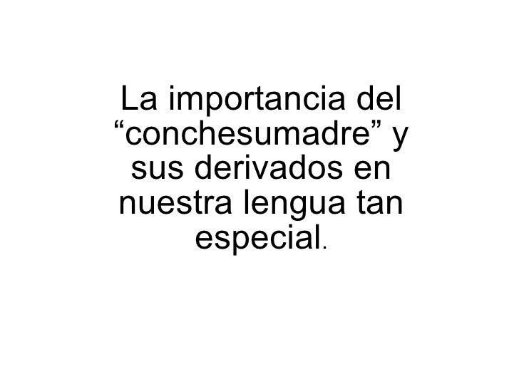 """La importancia del """"conchesumadre"""" y sus derivados en nuestra lengua tan especial ."""