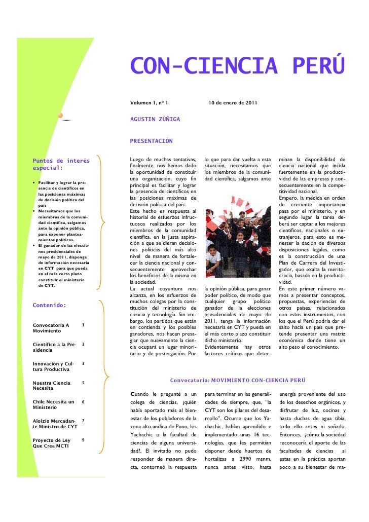 CON-CIENCIA PERÚ                                Volumen 1, nº 1                    10 de enero de 2011                    ...
