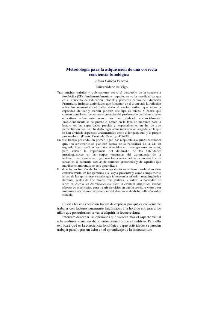 Metodología para la adquisición de una correcta                  conciencia fonológica                               Elena...