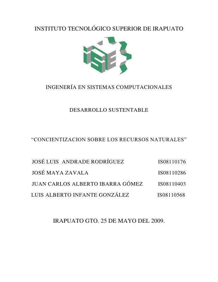 INSTITUTO TECNOLÓGICO SUPERIOR DE IRAPUATO         INGENERÍA EN SISTEMAS COMPUTACIONALES              DESARROLLO SUSTENTAB...