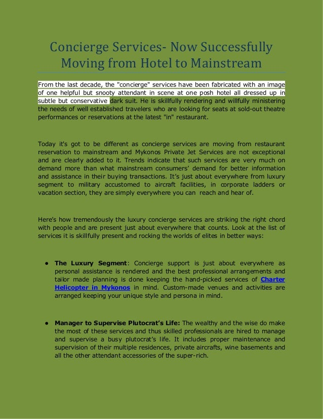 """Concierge Services- Now Successfully Moving from Hotel to Mainstream From the last decade, the """"concierge"""" services have b..."""