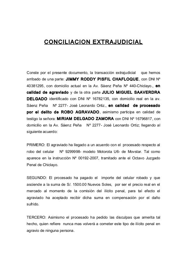 conciliacion extrajudicial jrpch