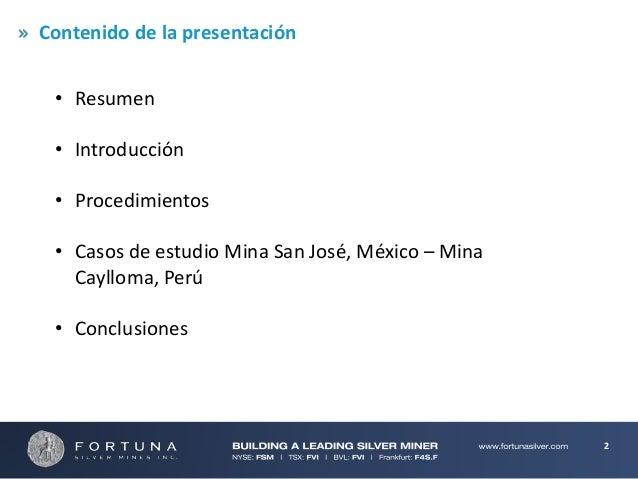 Conciliacion en Minería Subterranea: Procedimientos y Aplicaciones Slide 2
