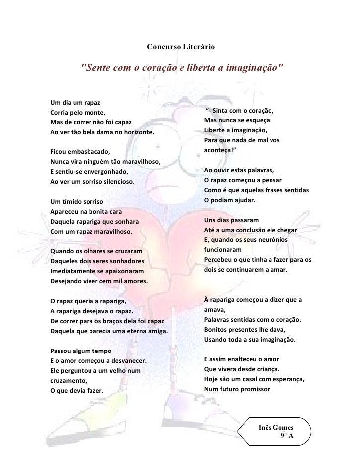 """Concurso Literário           """"Sente com o coração e liberta a imaginação""""   Um dia um rapaz Corria pelo monte.            ..."""
