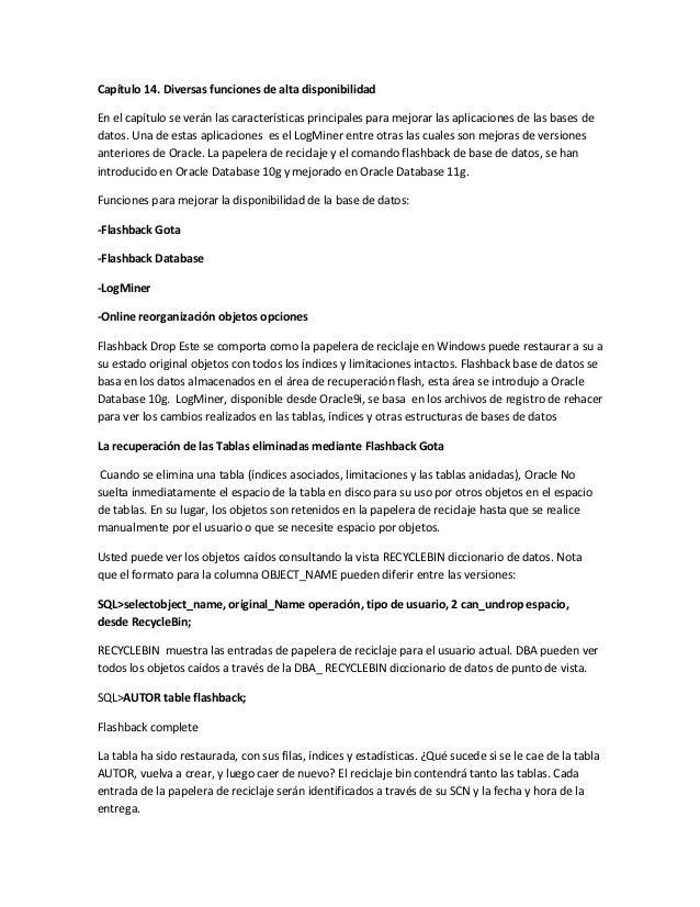 Capítulo 14. Diversas funciones de alta disponibilidadEn el capítulo se verán las características principales para mejorar...