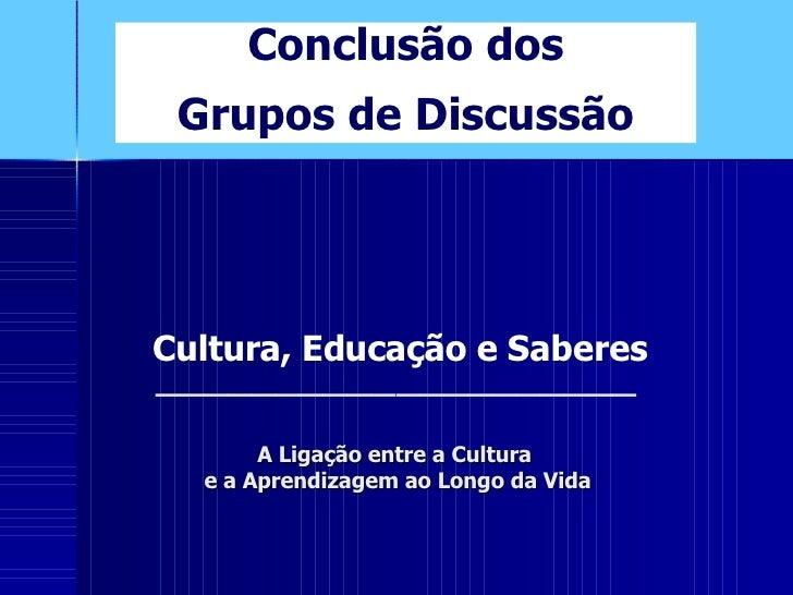 A Ligação entre a Cultura  e a Aprendizagem ao Longo da Vida Conclusão dos Grupos de Discussão ____________________ Cultur...