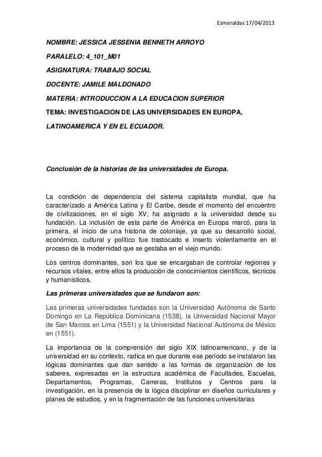 Esmeraldas 17/04/2013NOMBRE: JESSICA JESSENIA BENNETH ARROYOPARALELO: 4_101_M01ASIGNATURA: TRABAJO SOCIALDOCENTE: JAMILE M...