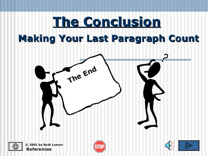 The Conclusion References © 2001 by Ruth Luman Making Your Last Paragraph Count The End