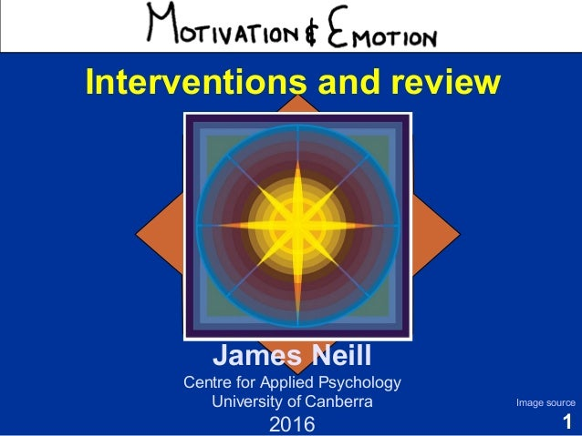 1 Motivation & Emotion James Neill Centre for Applied Psychology University of Canberra 2016 Image source Interventions an...