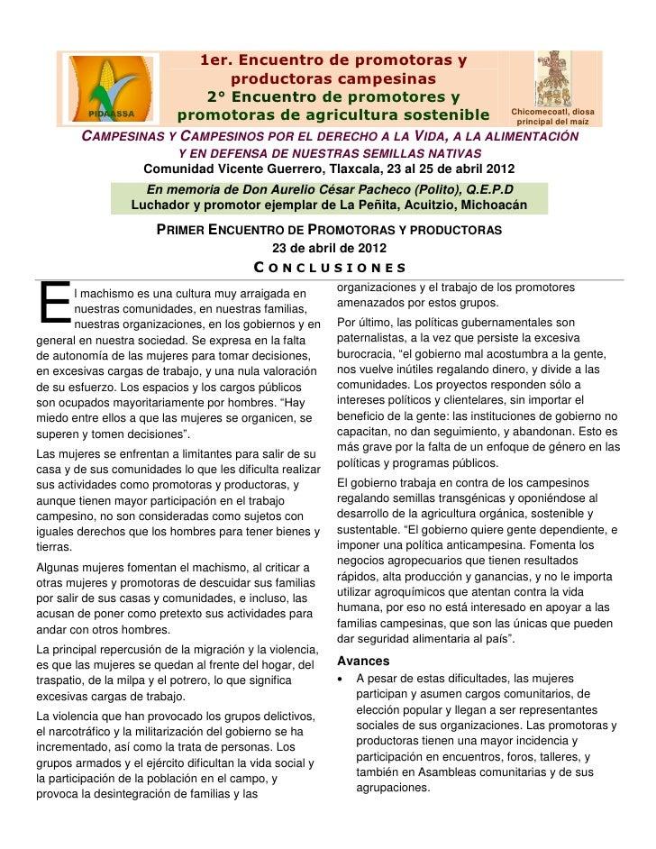 1er. Encuentro de promotoras y                           productoras campesinas                        2° Encuentro de pro...