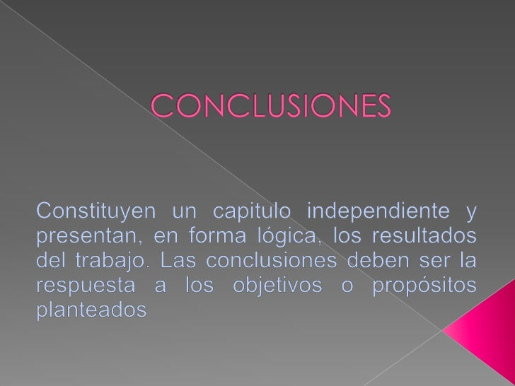 ..Normas icontec..sobre conclusiones.. Slide 2