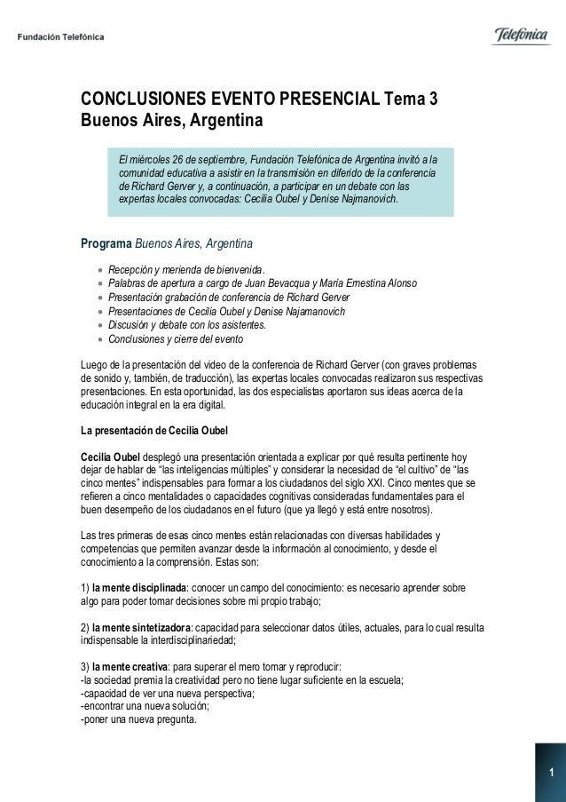 1 CONCLUSIONES EVENTO PRESENCIAL Tema 3 Buenos Aires, Argentina Programa Buenos Aires, Argentina  Recepción y merienda de...