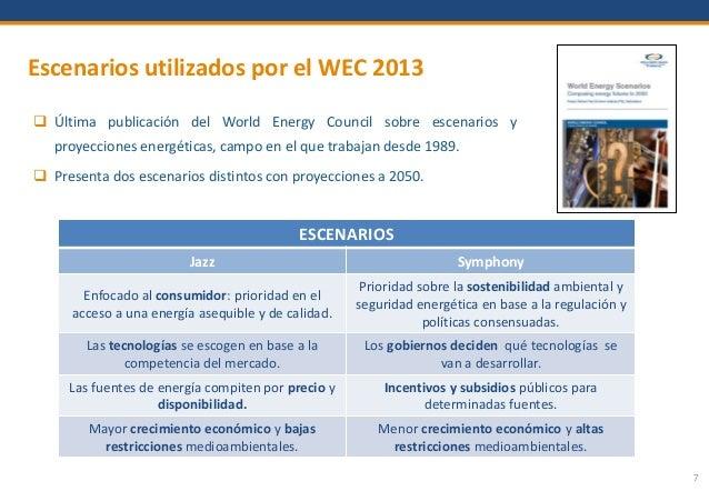 7 Escenarios utilizados por el WEC 2013  Última publicación del World Energy Council sobre escenarios y proyecciones ener...