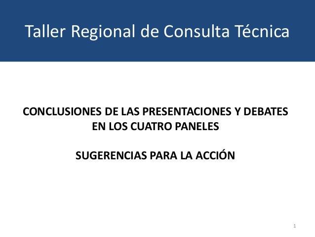 CONCLUSIONES DE LAS PRESENTACIONES Y DEBATES EN LOS CUATRO PANELES SUGERENCIAS PARA LA ACCIÓN 1 Taller Regional de Consult...