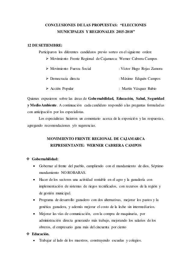 """CONCLUSIONES DE LAS PROPUESTAS: """"ELECCIONES  MUNICIPALES Y REGIONALES 2015-2018""""  12 DE SETIEMBRE:  Participaron los difer..."""