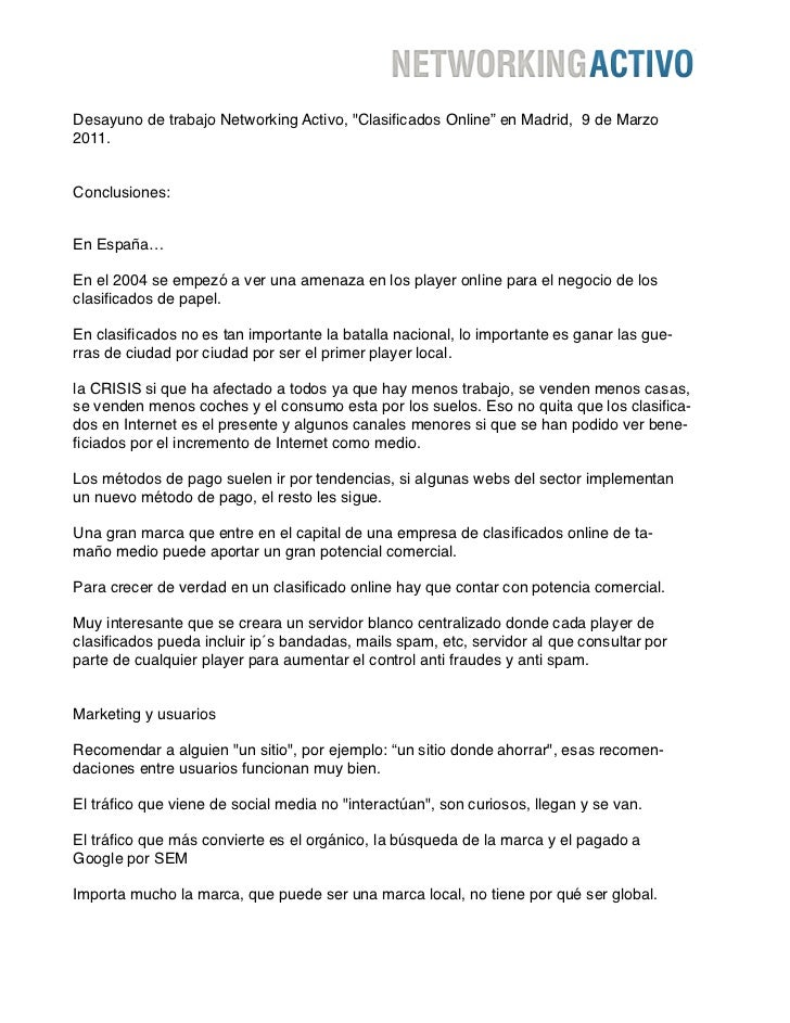 """Desayuno de trabajo Networking Activo, """"Clasificados Online"""" en Madrid, 9 de Marzo2011.Conclusiones:En España…En el 2004 se..."""
