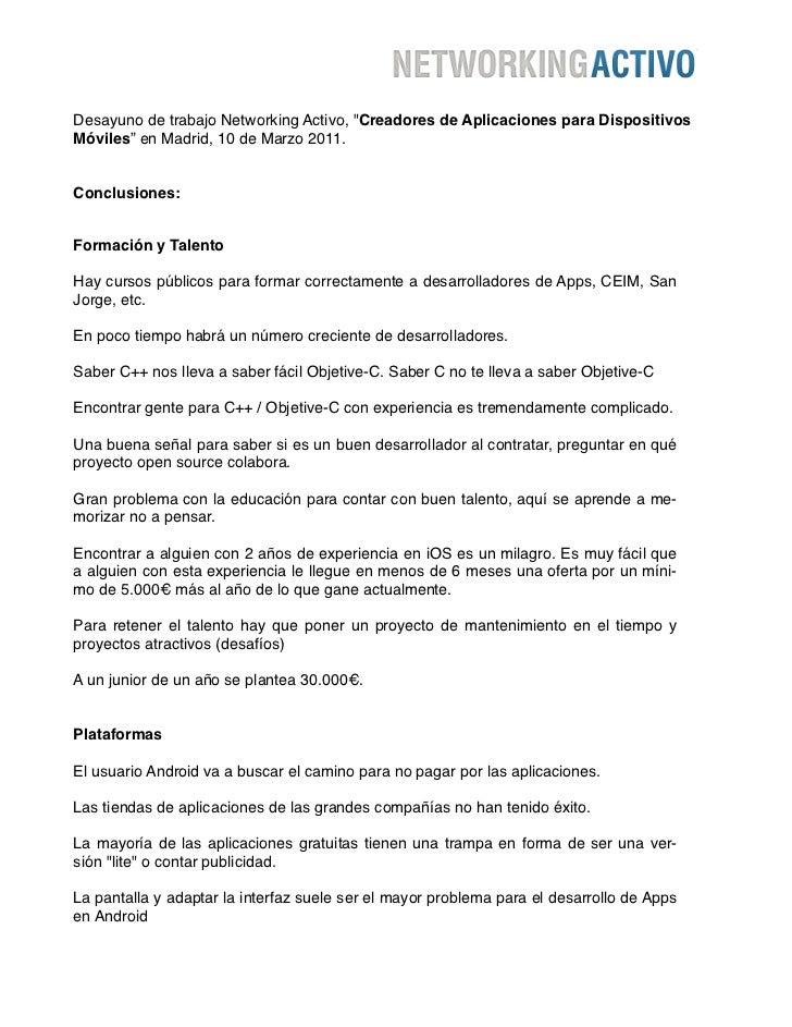 """Desayuno de trabajo Networking Activo, """"Creadores de Aplicaciones para DispositivosMóviles"""" en Madrid, 10 de Marzo 2011.Co..."""