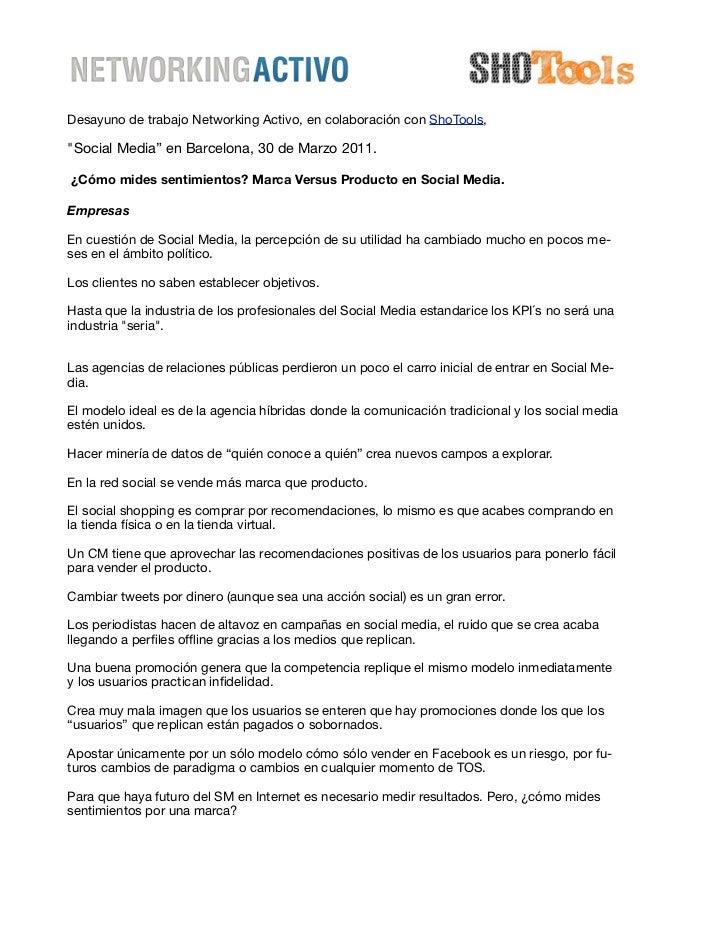 """Desayuno de trabajo Networking Activo, en colaboración con ShoTools,""""Social Media"""" en Barcelona, 30 de Marzo 2011.¿Cómo mi..."""