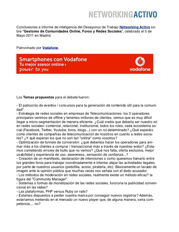 """Conclusiones e informe de inteligencia del Desayunos de Trabajo Networking Activo so-bre """"Gestores de Comunidades Online, ..."""