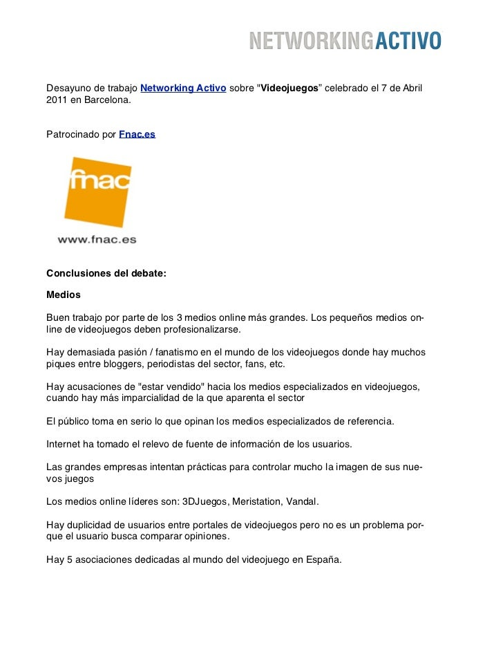 """Desayuno de trabajo Networking Activo sobre """"Videojuegos"""" celebrado el 7 de Abril2011 en Barcelona.Patrocinado por Fnac.es..."""