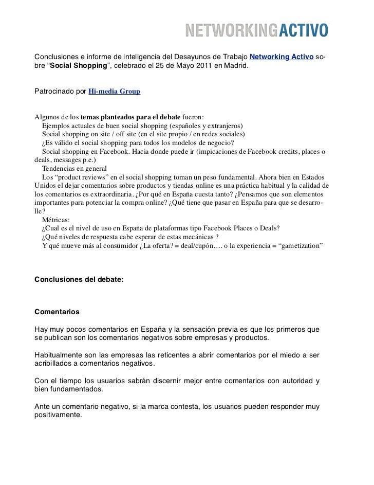"""Conclusiones e informe de inteligencia del Desayunos de Trabajo Networking Activo so-bre """"Social Shopping"""", celebrado el 2..."""