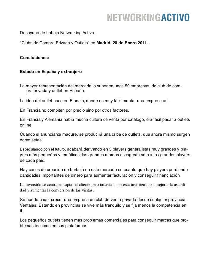 """Desayuno de trabajo Networking Activo :""""Clubs de Compra Privada y Outlets"""" en Madrid, 20 de Enero 2011.Conclusiones:Estado..."""