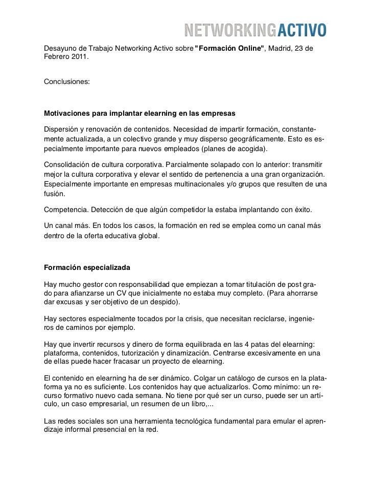 """Desayuno de Trabajo Networking Activo sobre """"Formación Online"""", Madrid, 23 deFebrero 2011.Conclusiones:Motivaciones para i..."""
