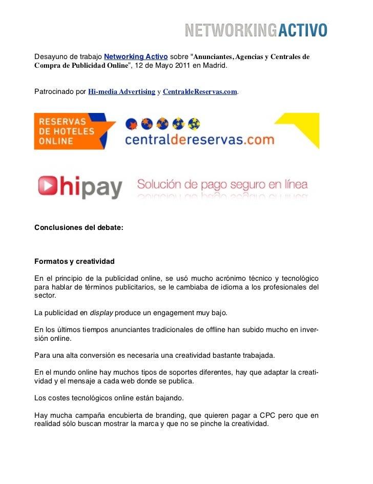"""Desayuno de trabajo Networking Activo sobre """"Anunciantes, Agencias y Centrales deCompra de Publicidad Online"""", 12 de Mayo ..."""