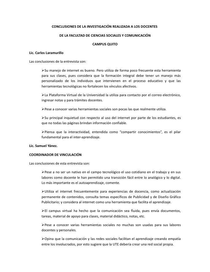 CONCLUSIONES DE LA INVESTIGACIÓN REALIZADA A LOS DOCENTES                       DE LA FACULTAD DE CIENCIAS SOCIALES Y COMU...