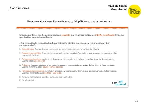 @luismi_barral @pepabarral Conclusiones. Hemos explorado en las preferencias del público con esta pregunta:
