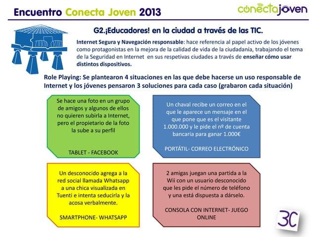 Encuentro Conecta Joven 2013G2.¡Educadores! en la ciudad a través de las TIC.Role Playing: Se plantearon 4 situaciones en ...