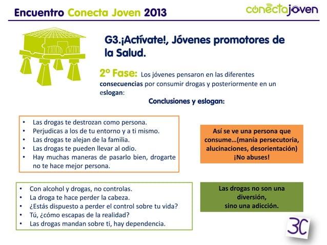 Encuentro Conecta Joven 2013G3.¡Actívate!, Jóvenes promotores dela Salud.Así se ve una persona queconsume…(manía persecuto...