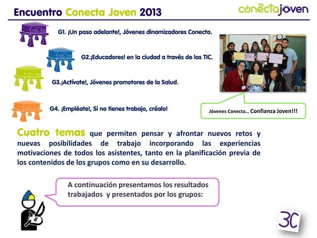 Encuentro Conecta Joven 2013G1. ¡Un paso adelante!, Jóvenes dinamizadores Conecta.G2.¡Educadores! en la ciudad a través de...