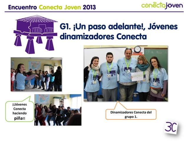 Encuentro Conecta Joven 2013G1. ¡Un paso adelante!,Jóvenes dinamizadoresConectaDinamizadores Conecta delgrupo 1.¡¡JóvenesC...
