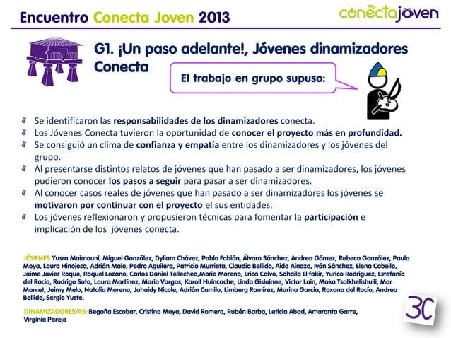 Encuentro Conecta Joven 2013G1. ¡Un paso adelante!, Jóvenesdinamizadores ConectaSe identificaron las responsabilidades de ...