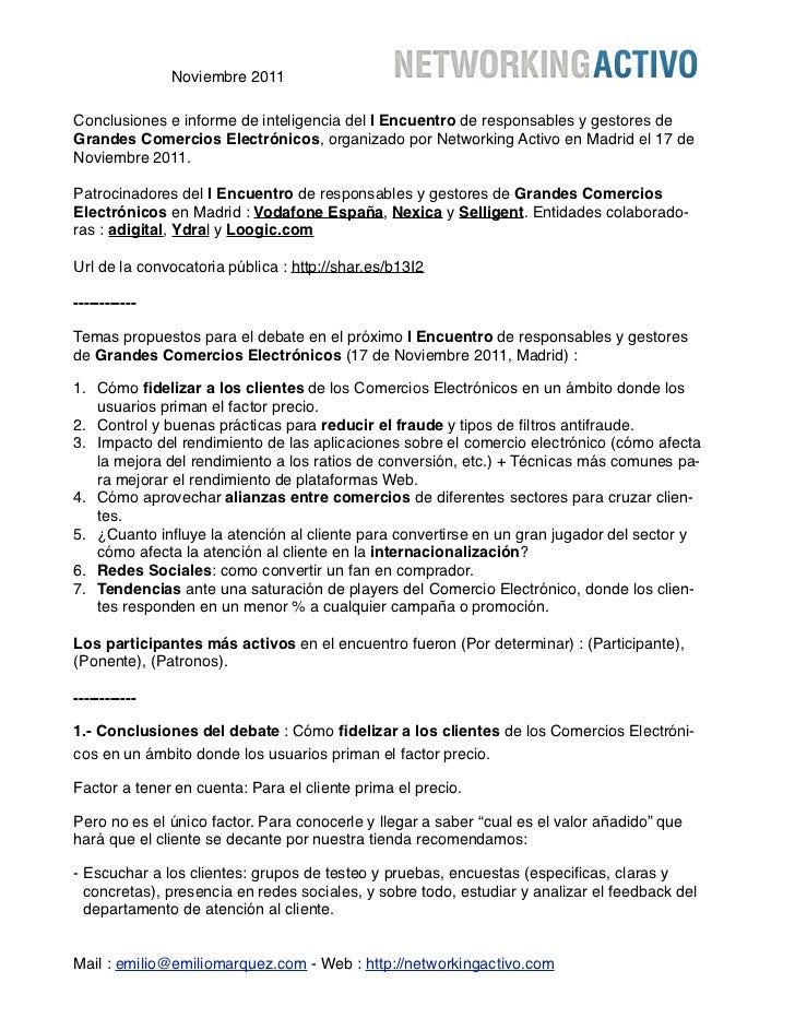 Noviembre 2011Conclusiones e informe de inteligencia del I Encuentro de responsables y gestores deGrandes Comercios Electr...