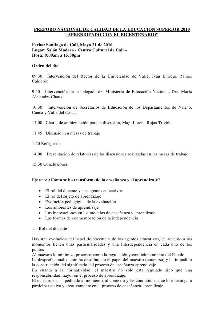 """PREFORO NACIONAL DE CALIDAD DE LA EDUCACIÓN SUPERIOR 2010             """"APRENDIENDO CON EL BICENTENARIO""""  Fecha: Santiago d..."""