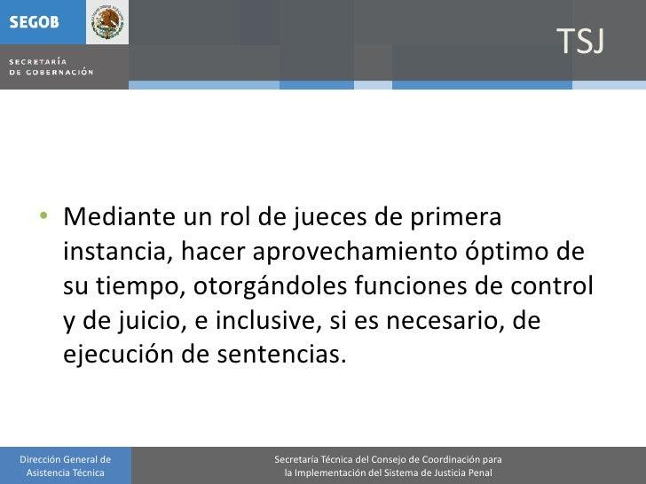 TSJ        • Mediante un rol de jueces de primera       instancia, hacer aprovechamiento óptimo de       su tiempo, otorgá...