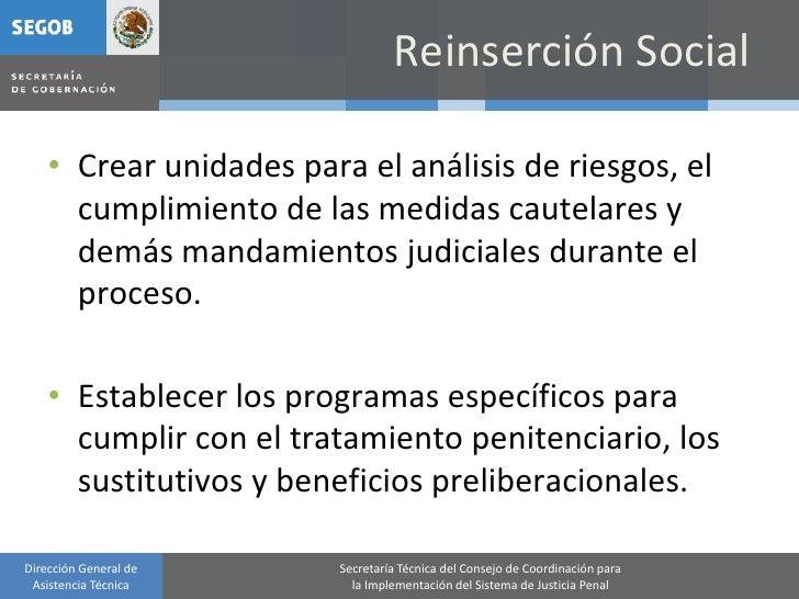Reinserción Social      • Crear unidades para el análisis de riesgos, el       cumplimiento de las medidas cautelares y   ...