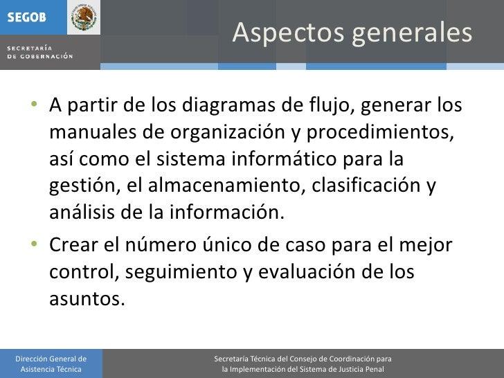 Aspectos generales      • A partir de los diagramas de flujo, generar los       manuales de organización y procedimientos,...