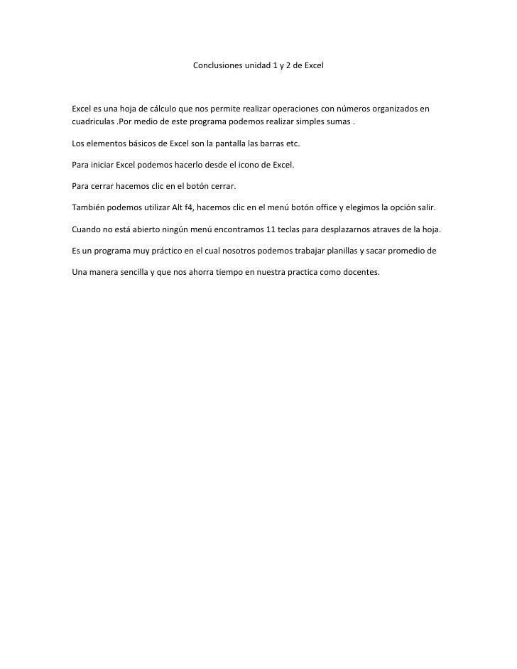 Conclusiones unidad 1 y 2 de excel