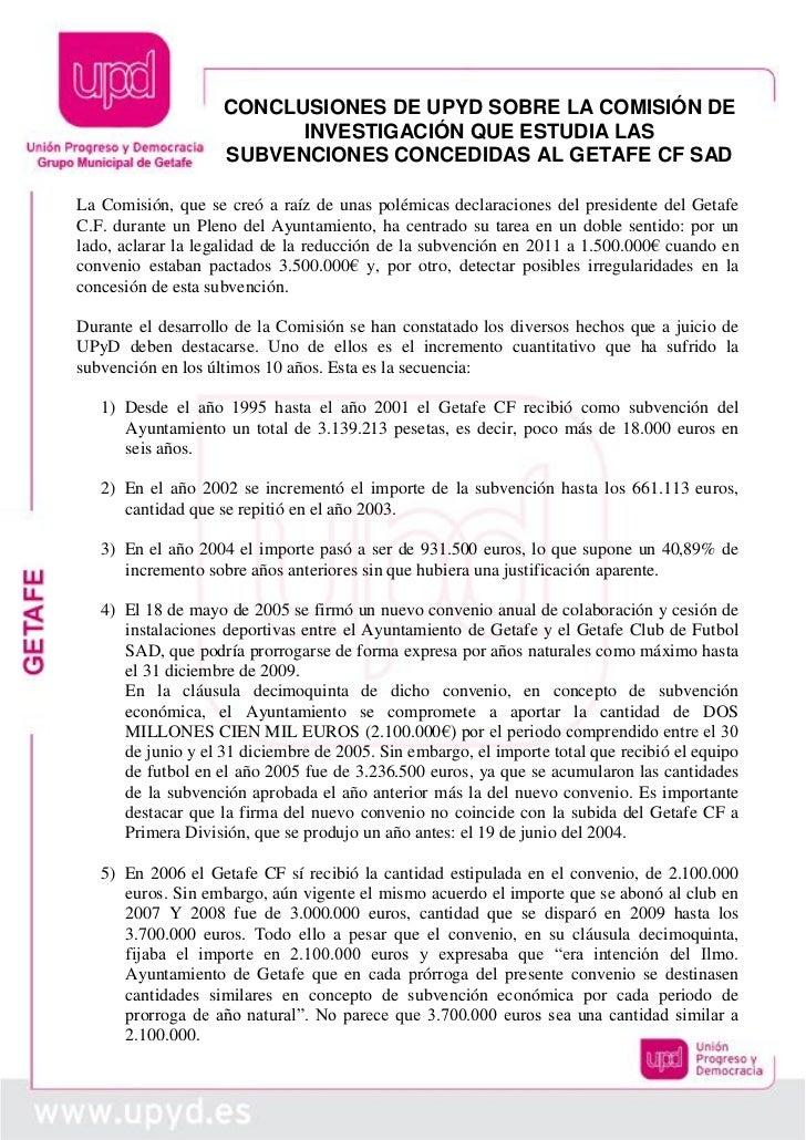 CONCLUSIONES DE UPYD SOBRE LA COMISIÓN DE                          INVESTIGACIÓN QUE ESTUDIA LAS                    SUBVEN...