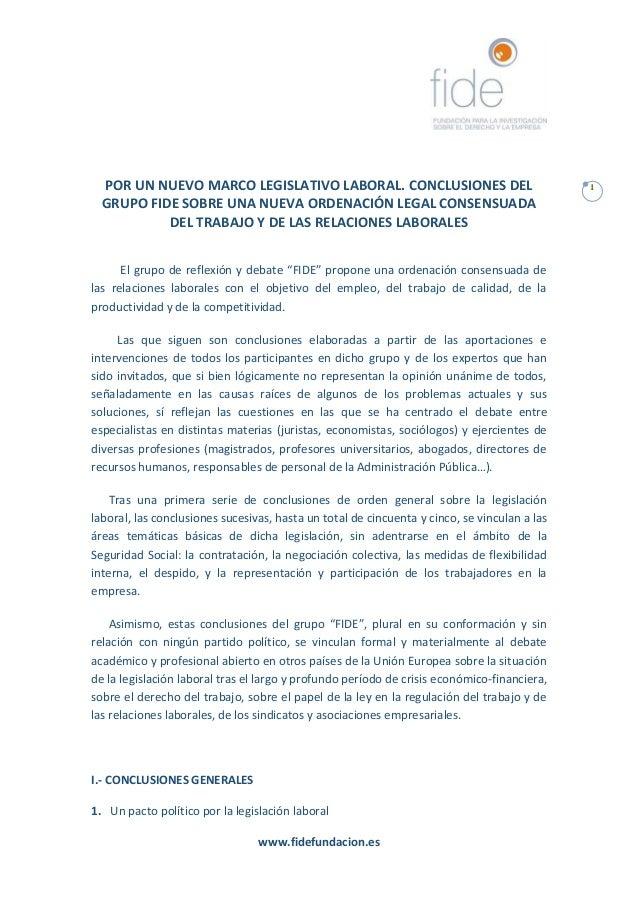 Conclusiones y recomendaciones Grupo FIDE 2016 por un