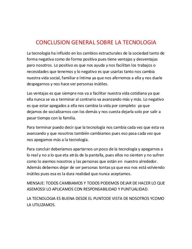 conclusion general sobrela tecnologia