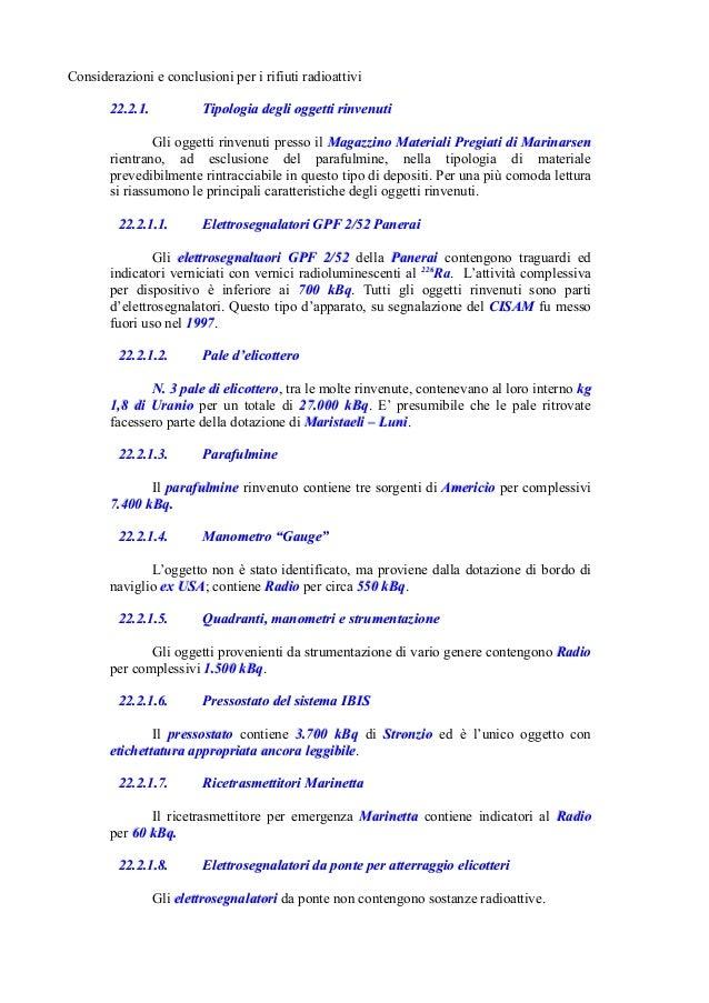Considerazioni e conclusioni per i rifiuti radioattivi 22.2.1.22.2.1. Tipologia degli oggetti rinvenutiTipologia degli ogg...