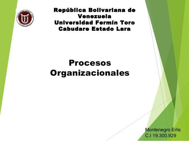 Procesos Organizacionales República Bolivariana de Venezuela Universidad Fermín Toro Cabudare Estado Lara Montenegro Erlis...
