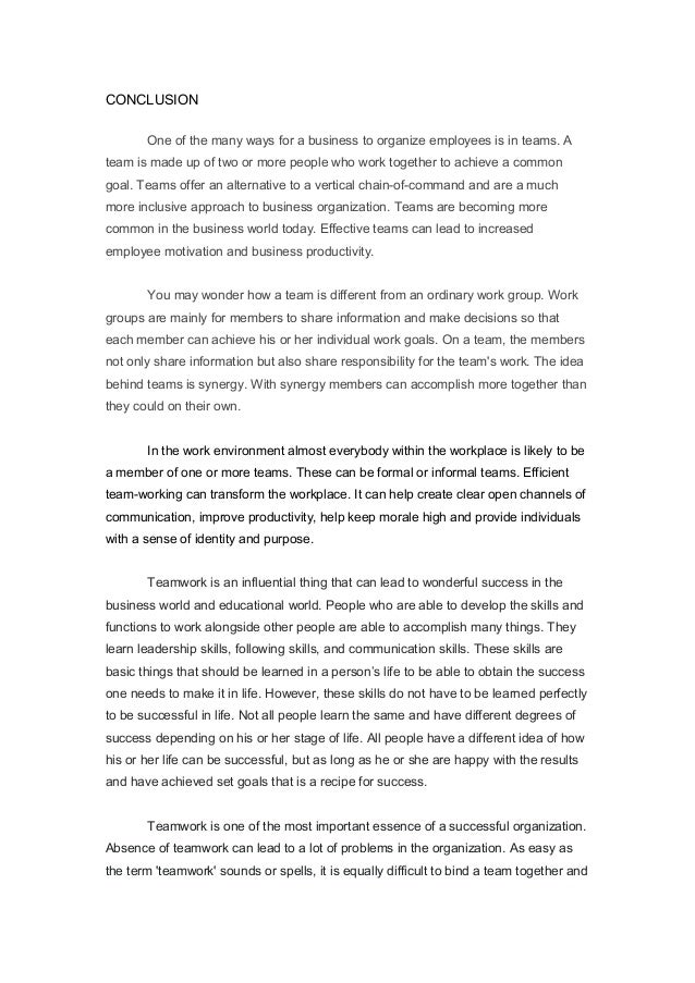 Reflection Paper Essay Conclusion Team Work  English Essay Ideas also How Do I Write A Thesis Statement For An Essay Team Work Essay  Romefontanacountryinncom Topics For Synthesis Essay