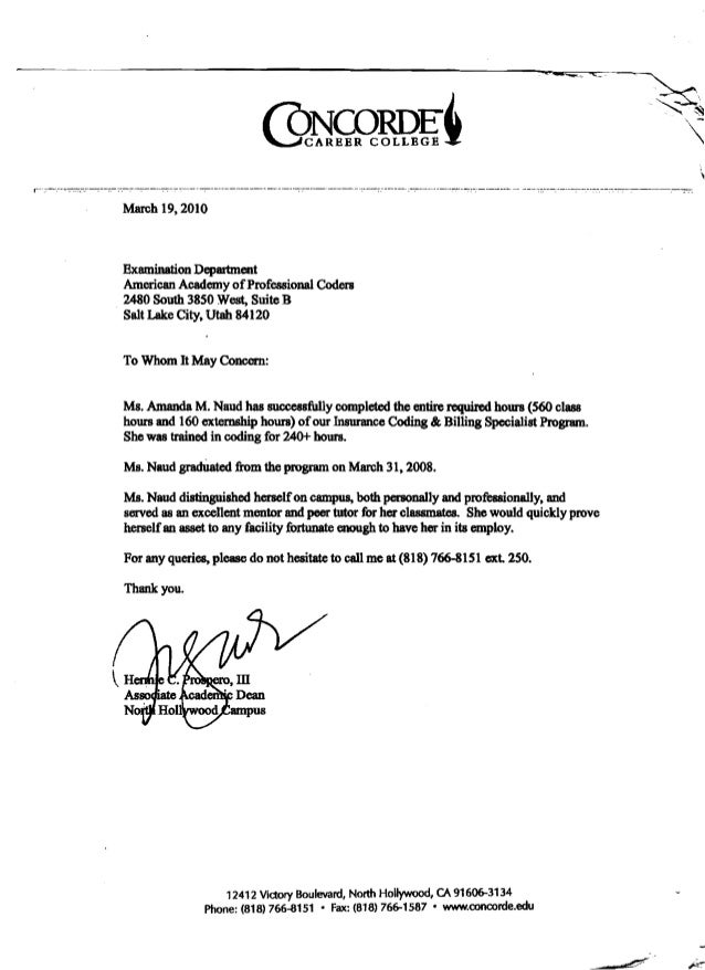 concorde career college  dean  letter of recommendation