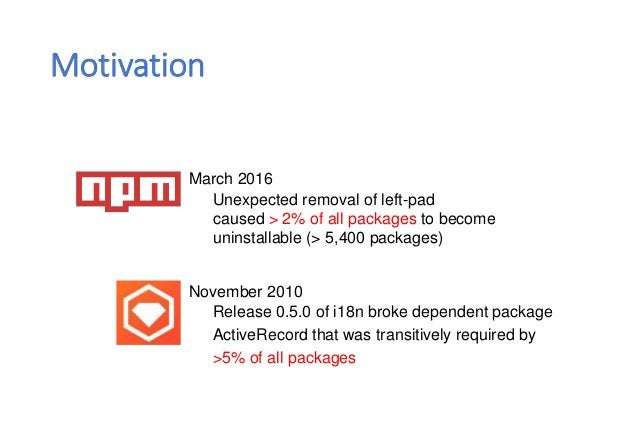 March 2016 Unexpected removal of left-pad caused > 2% of all packages to become uninstallable (> 5,400 packages) November ...