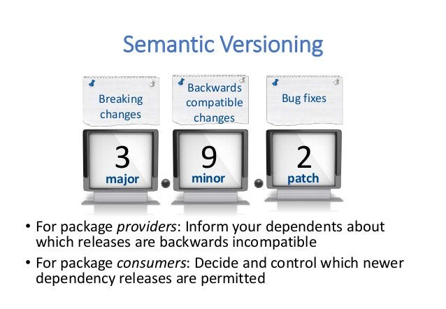 Semantic Versioning • For package providers: Inform your dependents about which releases are backwards incompatible • For ...